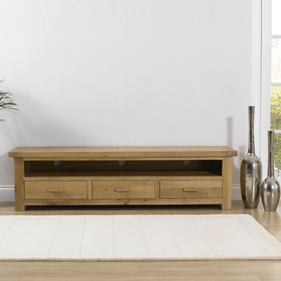 Avalon Solid Oak Large Tv Unit – Robson Furniture With Regard To Most Current Solid Oak Tv Cabinets (View 3 of 20)