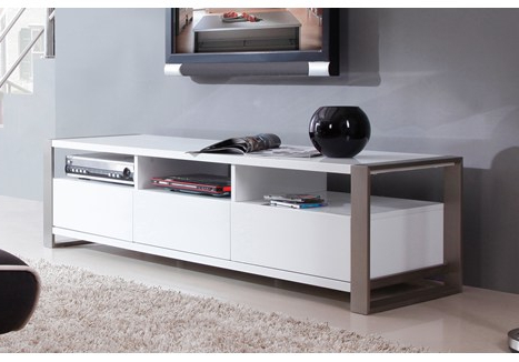 "B Modern Stylist 63"" High Gloss White Tv Stand – Bm 110 Wht With Regard To Preferred Gloss White Tv Stands (View 19 of 20)"