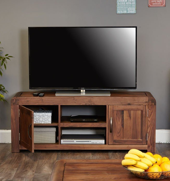 Baumhaus Shiro Walnut Widescreen Television Cabinet (Cdr09B) With Regard To Well Liked Widescreen Tv Cabinets (Gallery 9 of 20)