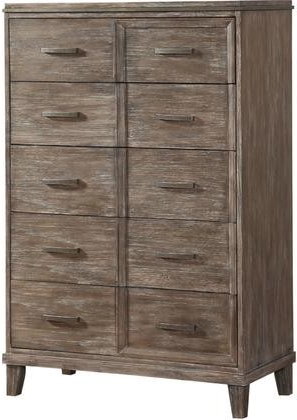 "Bayonne – 23896 38"" Chest W/ 5 Drawers Metal Hardware Felt Lined Top  Drawers Poplar Wood & Hickory Veneer In Burnt Oak Finish – Varouj  Appliances Inside Most Popular Burnt Oak Metal Sideboards (View 4 of 20)"