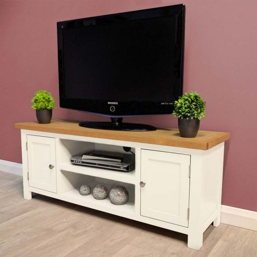 Belgravia White Painted Large Oak Tv Unit / Plasma / Solid Wood / Tv Throughout Well Known Hard Wood Tv Stands (Gallery 10 of 20)