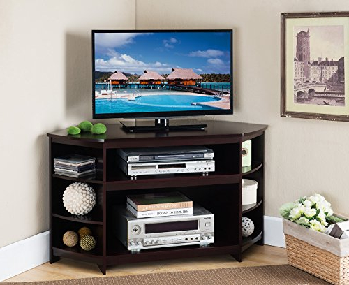 Best And Newest Amazon: Kings Brand Furniture Cherry Finish Wood Corner Tv Stand Inside Tv Stands For Corners (Gallery 19 of 20)