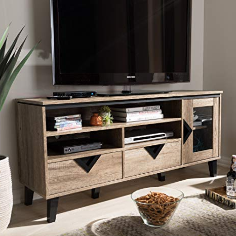 Best And Newest Amazon: Tv Stand In Light Brown Finish: Home Audio & Theater Inside Light Colored Tv Stands (View 2 of 20)