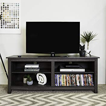 "Best And Newest Amazon: We Furniture 58"" Wood Tv Stand Storage Console, Charcoal For Wood Tv Stands (View 1 of 20)"