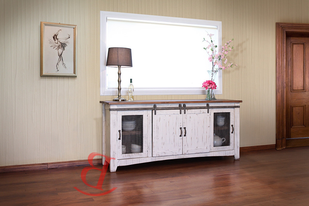 "Best And Newest Anton White Finish 70"" Rustic Tv Stand Real Solid Wood Western Cabin Within White Rustic Tv Stands (View 6 of 20)"