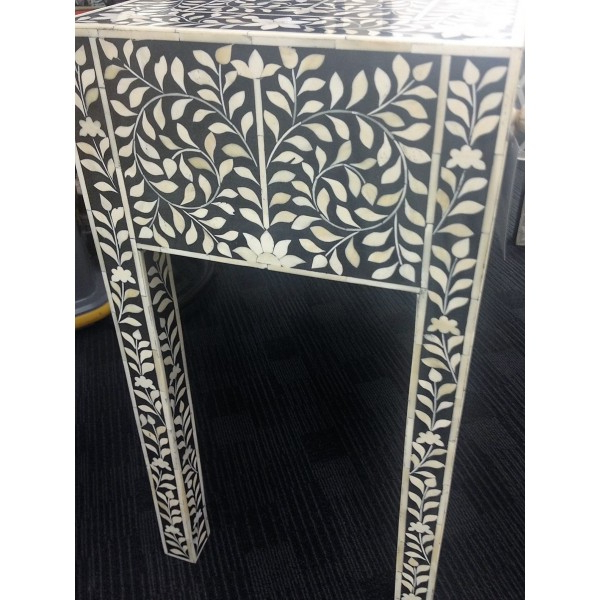 Best And Newest Black And White Inlay Console Tables In Bone Inlay 3 Drawer Console In Black And White (View 3 of 20)