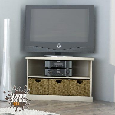 Best And Newest Cream Corner Tv Stands Throughout Corner Tv Stand Cream 3 Drawer Seagrass Baskets Malvern Television (Gallery 17 of 20)