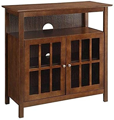 """Best And Newest Dixon Black 65 Inch Highboy Tv Stands Regarding Amazon: 60"""" Red Scraped Tv Stand Console With Glass Doors (View 5 of 20)"""
