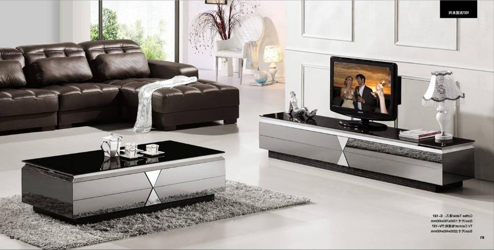 Best And Newest Gray Mirror Modern Furniture, Coffee Table And Tv Cabinet Set,smart Pertaining To Tv Cabinets And Coffee Table Sets (View 5 of 20)