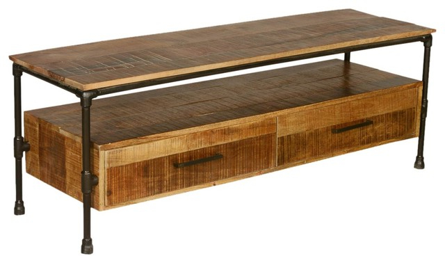 Best And Newest Industrial Iron Pipe & Mango Wood Tv Table Media Island – Rustic Within Mango Wood Tv Stands (Gallery 9 of 20)