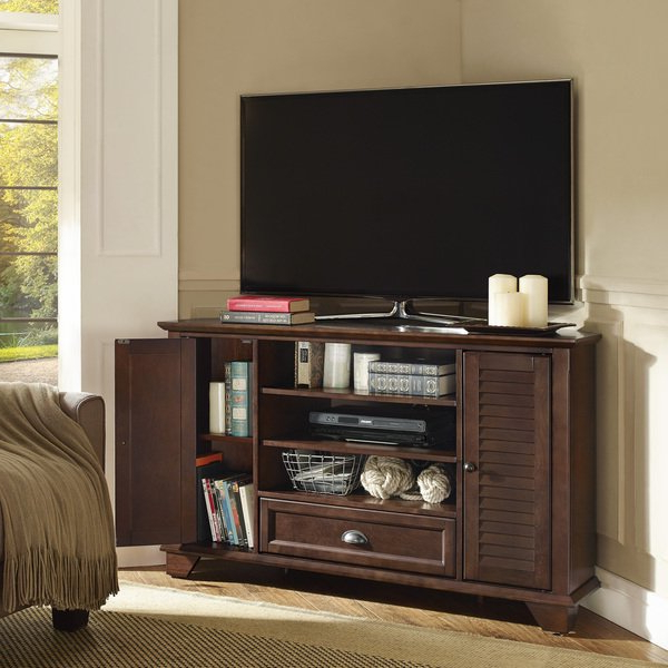 "Best And Newest Mahogany Corner Tv Stands Inside Shop Palmetto 50"" Corner Tv Stand In Mahogany – Free Shipping Today (View 2 of 20)"