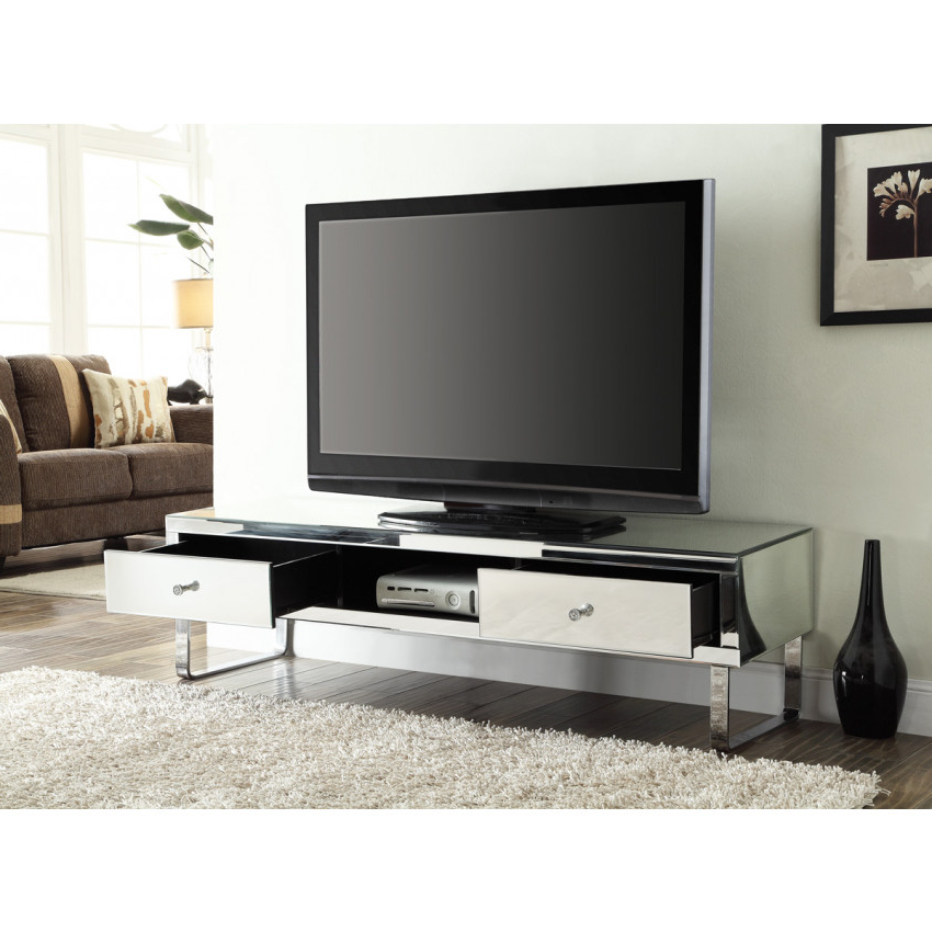 Best And Newest Mirrored Tv Stands In Mirrored Media Tv Stand Cabinet 2 Drawers (View 2 of 20)