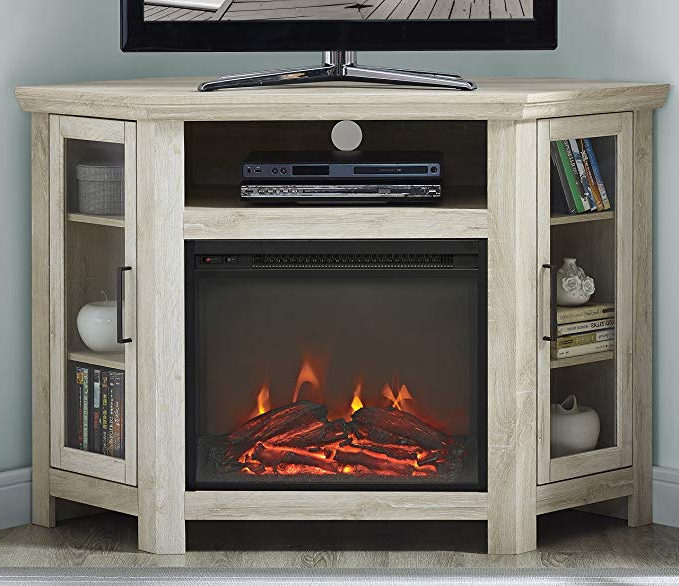 "Best And Newest Noah Rustic White 66 Inch Tv Stands Pertaining To Amazon: We Furniture 48"" Wood Corner Fireplace Media Tv Stand (View 9 of 17)"