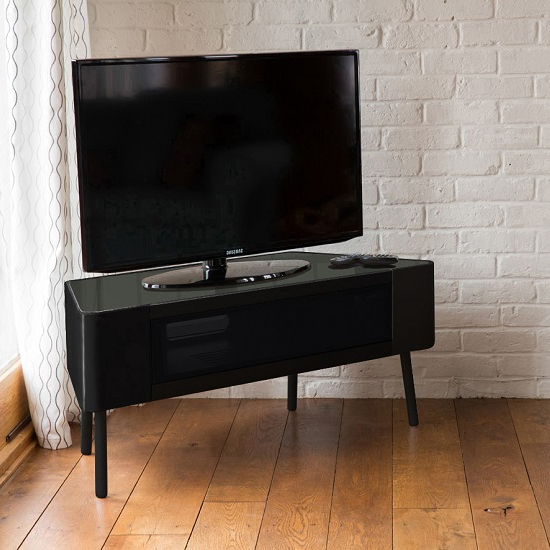 Best And Newest Norvik Corner Tv Stand In Black High Gloss With Glass Door With Black Corner Tv Cabinets With Glass Doors (Gallery 4 of 20)