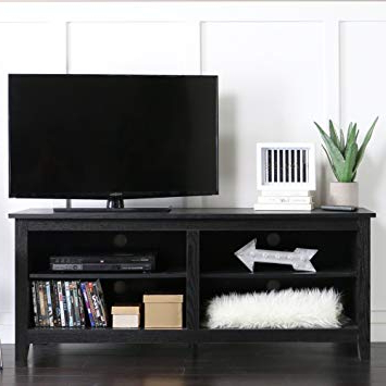 """Best And Newest Oxford 84 Inch Tv Stands Within Amazon: We 58"""" Wood Tv Stand Storage Console, Black: Kitchen (View 3 of 20)"""