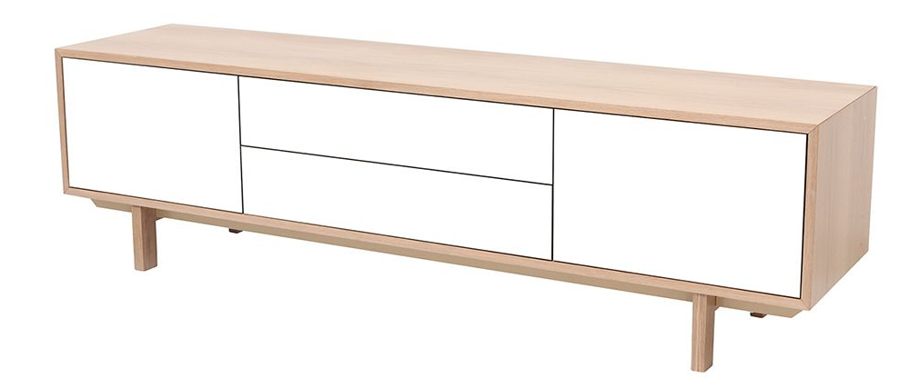 Best And Newest Scandinavian Tv Stands Within Scandinavian Wood And White Tv Stand 180 Cm Sid – Miliboo (View 2 of 20)