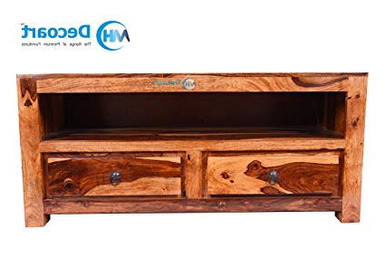 Best And Newest Sheesham Wood Tv Stands Inside Mh Decoart Sheesham Wood Tv Stand Cabinet For Home (Gallery 5 of 20)