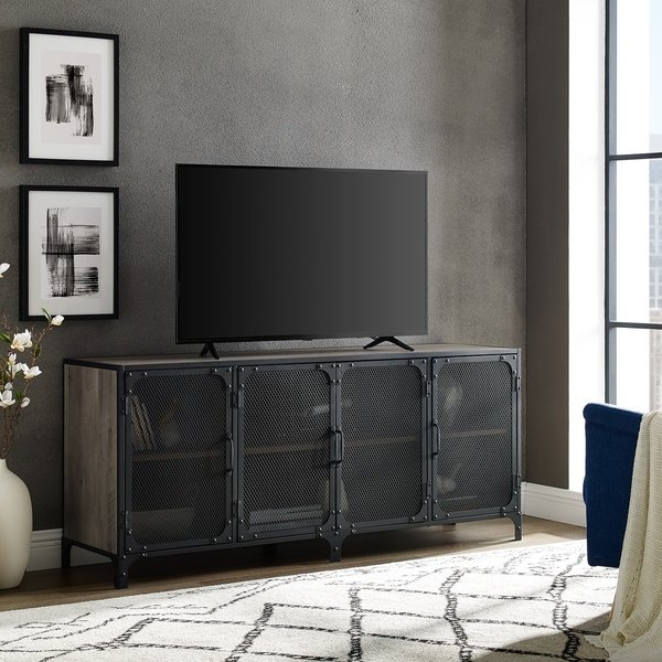 """Best And Newest Shop 60"""" Mesh Door Industrial Tv Stand Console – 60 X 16 X 26H Intended For Industrial Tv Stands (Gallery 18 of 20)"""