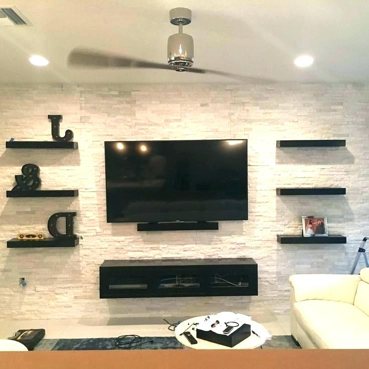 Best And Newest Single Shelf Tv Stands With Regard To Tv Stand With Floating Glass Shelves Wall Hanging Stand Wall Mount (View 3 of 20)