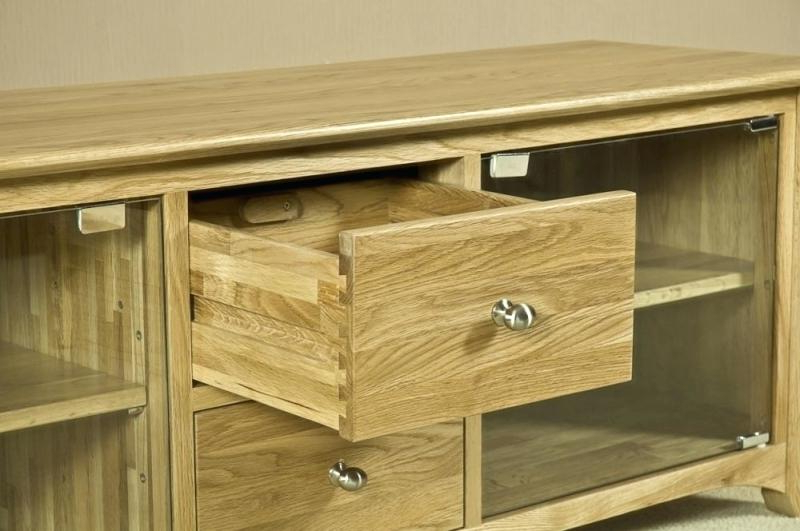 Best And Newest Solid Oak Tv Stand Unit Large With Glass Door Wood Ebay – Darog Inside Glass And Oak Tv Stands (View 2 of 20)