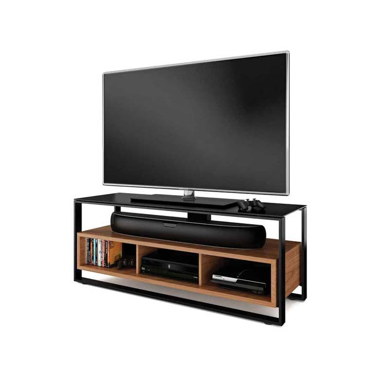 Best And Newest Solid Wood Black Tv Stands Inside Bdi Sonda Floating Solid Wood And Black Glass 60 Inch Tv Stand (View 5 of 20)