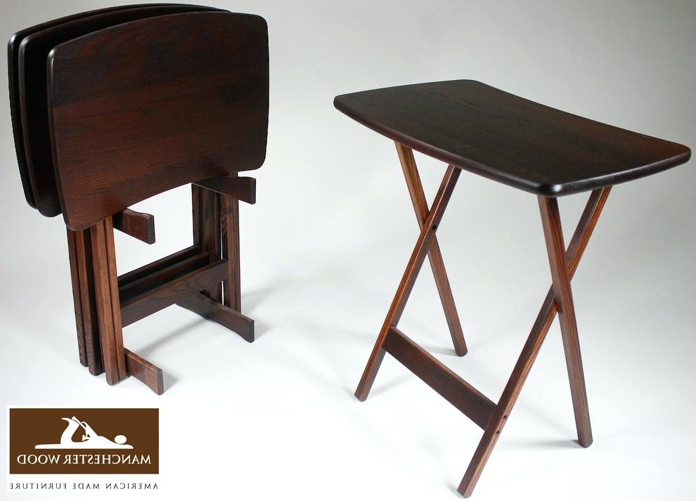 Best And Newest Solid Wood Tv Tray Alluring Folding Tray Table Set With Fascinating Intended For Folding Wooden Tv Tray Tables (View 5 of 20)