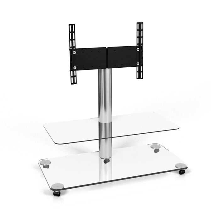 Best And Newest Spectral Floor Qx1212 Aluminium / Clear Glass Tv Stand – Trolleys Inside Clear Glass Tv Stand (Gallery 16 of 20)