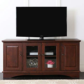 "Best And Newest Storage Tv Stands With Regard To Amazon: Walker Edison 52"" Wood Storage Tv Stand Console, Brown (Gallery 16 of 20)"