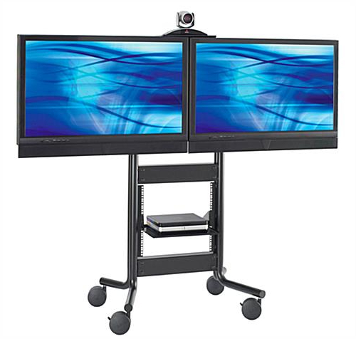 Best And Newest These Dual Tv Stands On Wheels Have A Moveable Camera Shelf! These Regarding Dual Tv Stands (View 15 of 20)