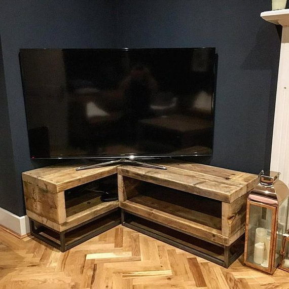 Best And Newest Unique Corner Tv Stands Inside Industrial Chic Reclaimed Corner Tv Unit Stand Media Unit – Steel (View 4 of 20)