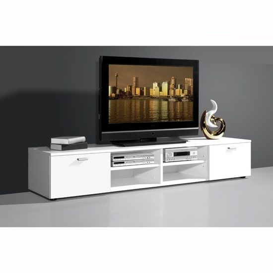Best And Newest White Tv Stands For Flat Screens Inside Contemporary Tv Stand For Flat Screen In White With Gloss Doors (Gallery 3 of 20)