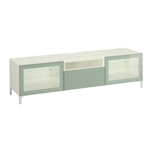 Bestå Tv Unit – White Selsviken/high Gloss/light Gray Green Clear Inside Most Popular Ikea White Gloss Tv Units (View 3 of 20)