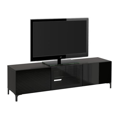Bestå Tv Unit With Drawers And Door – Black Brown/selsviken High Regarding Favorite Black Tv Cabinets With Drawers (View 4 of 20)