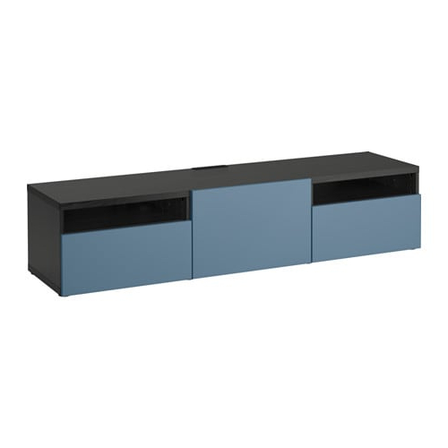 Bestå Tv Unit With Drawers – Black Brown/valviken Dark Blue, Drawer Regarding Current Black Tv Cabinets With Drawers (View 3 of 20)