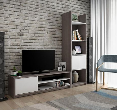 Bestar Small Space 2 Piece Tv Stand And Storage Tower Set (Gallery 10 of 20)