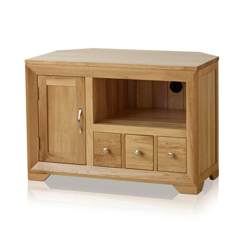 Bevel Natural Solid Oak Small Corner Tv Stand (View 6 of 20)