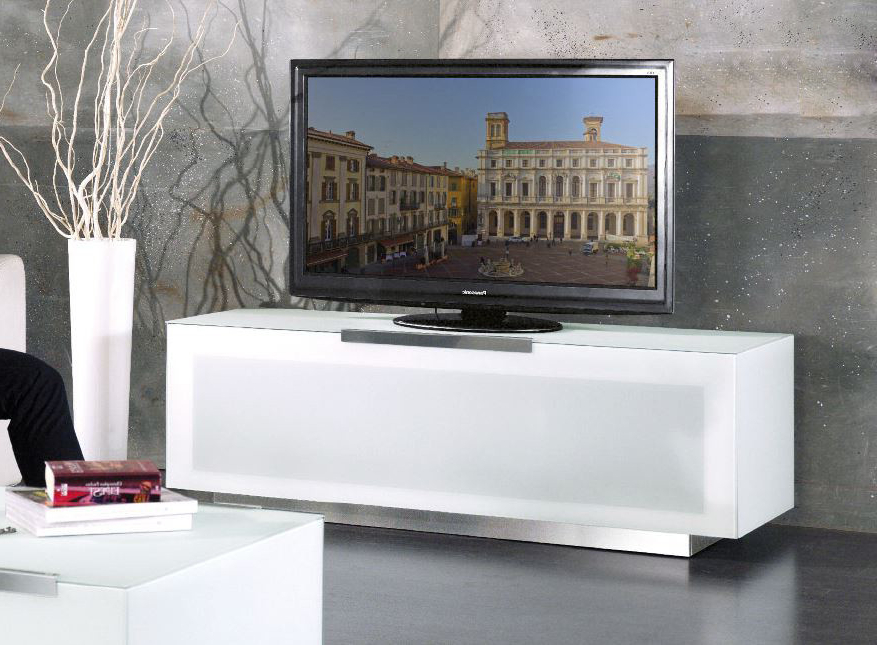 Bg422 Bio Bergamo Modern White Tv Stand Made In Italy With Well Known Modern White Tv Stands (Gallery 10 of 20)
