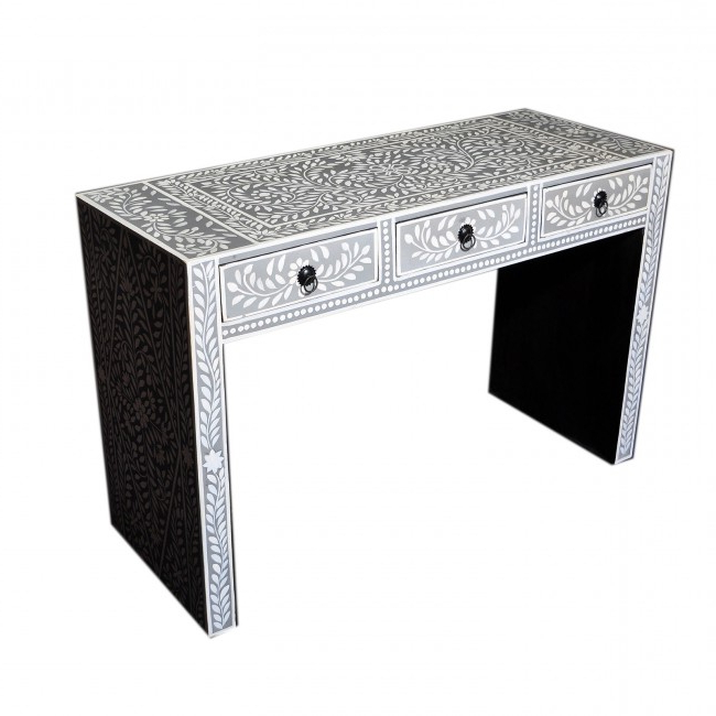 Black And White Inlay Console Tables Inside Newest Bone Inlay Grey Floral Console Table (Gallery 4 of 20)