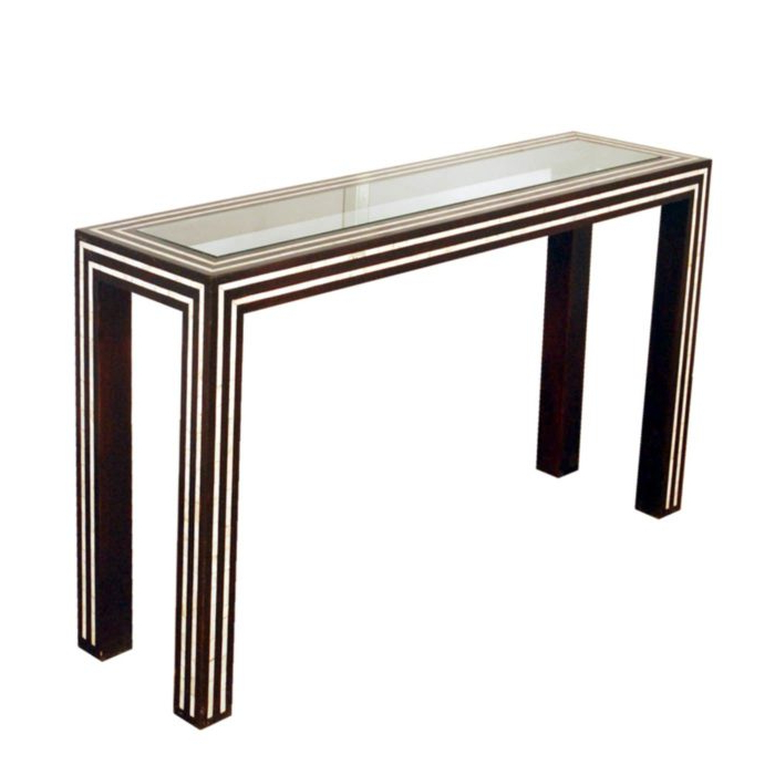 Black And White Pearl Inlay Console: Glass And Inlay Console Table With Popular Black And White Inlay Console Tables (View 8 of 20)