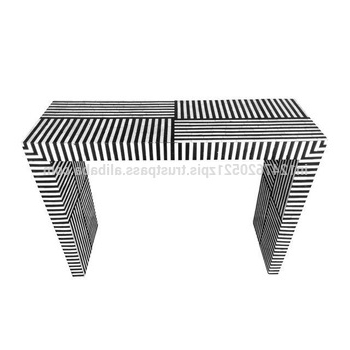 Black Bone Inlay Striped Pattern Console Table – Buy Luxury Console With Favorite Black And White Inlay Console Tables (View 9 of 20)