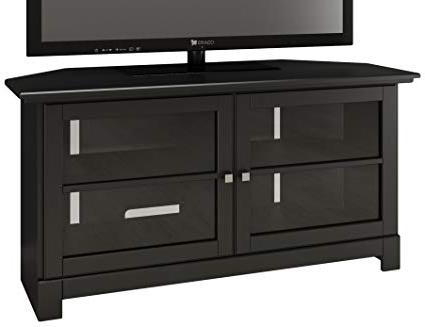 Black Corner Tv Cabinets For Latest Amazon: Nexera Pinnacle 49 Inch Modern Unit 102906 Black Corner (View 2 of 20)