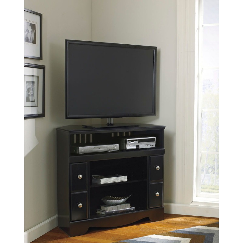Black Corner Tv Cabinets With Famous Shay – Black – Corner Tv Stand/fireplace Opt (View 14 of 20)