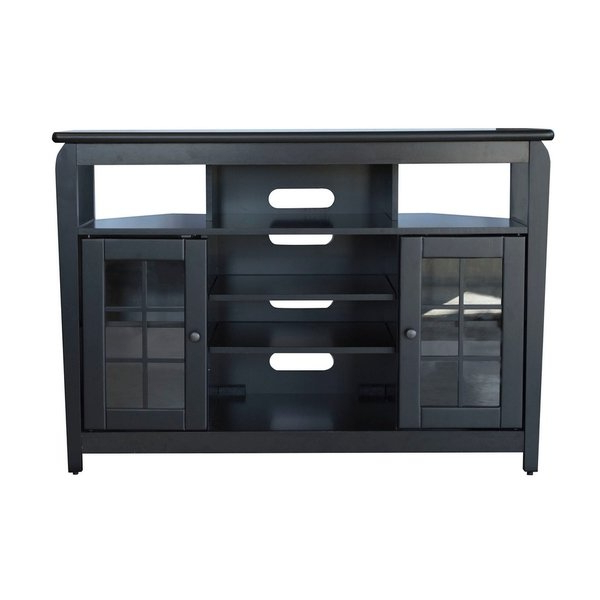 "Black Corner Tv Cabinets With Glass Doors For 2018 Shop Offex 46""w Corner Tv Stand With 2 Cabinet And Glass Door (View 4 of 20)"