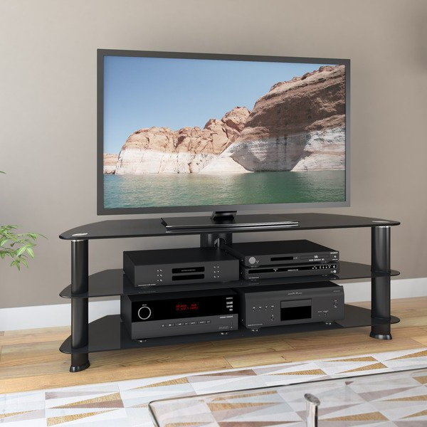 "Black Corner Tv Stands For Tvs Up To 60 Intended For 2017 Shop Laguna Corner Satin Black Tv Stand, For Up To 60"" Tvs – Free (Gallery 3 of 20)"