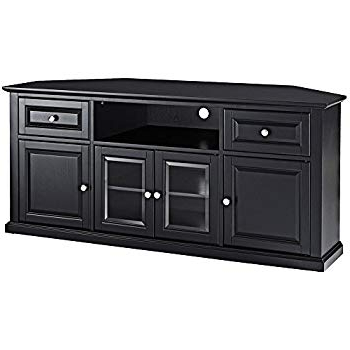 Black Corner Tv Stands For Tvs Up To 60 Intended For Current Amazon: Crosley Furniture 60 Inch Corner Tv Stand – Black (Gallery 13 of 20)
