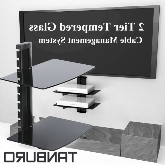 Black Floating Glass Wall Mount Shelf Bracket Tv Stand Dvd Skybox Pertaining To Fashionable Floating Glass Tv Stands (View 5 of 20)