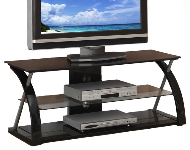 Black Glass Metal Dynamic Entertainment Center – Contemporary With Most Recently Released Entertainment Center Tv Stands (View 2 of 20)