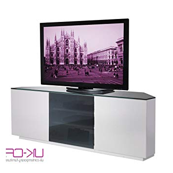 Black Glass Tv Cabinets Intended For Latest Milan Cityscape Designer White Gloss With Black Glass Tv Unit – Flat (View 6 of 20)