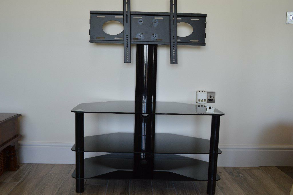 Black Glass Tv Stand With Swivel Tv Bracket (View 2 of 20)