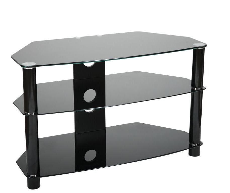 Black Glass Tv Stands With Newest Valufurniture B800B Tv Stands (Gallery 1 of 20)